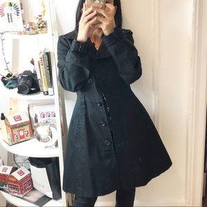 H&M Black 100% cotton Princess Style Trench Coat